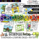 LITERATURE ONE PAGERS, LITERARY ELEMENTS SKETCH NOTES FOR ANY NOVEL OR TEXT