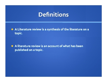 LITERATURE REVIEW--FROM CONCEPTION TO COMPLETION