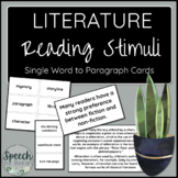 LITERATURE Sentence and Paragraph Reading Cards for Adult