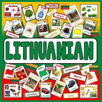 LITHUANIAN LANGUAGE TEACHING RESOURCES DISPLAY posters flashcards colour food