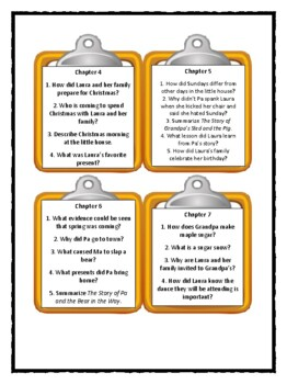 LITTLE HOUSE IN THE BIG WOODS Laura Ingalls Wilder - Discussion Cards