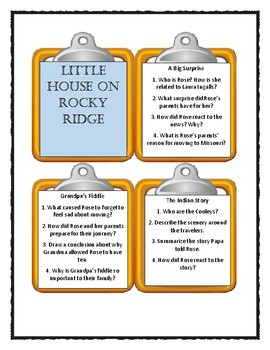 LITTLE HOUSE ON ROCKY RIDGE * Laura Ingalls Wilder - Discussion Cards