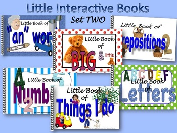 """LITTLE INTERACTIVE BOOKS Set TWO:  Numbers, Letters, Size, Verbs, """"an"""" words"""