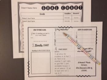 Growth Mindset Follow-Along Sticker Mini-Book and Goal Making Chart and Wkshts