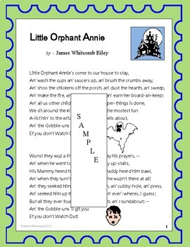 LITTLE ORPHANT ANNIE (sic) Poetry Study with Text and Questions