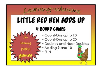 NUMBER FACTS - LITTLE RED HEN ADDS UP - 4 Board Games - Teaching addition facts