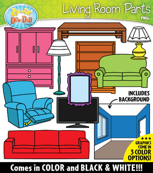 LIVING ROOM Parts of a House Clipart {Zip-A-Dee-Doo-Dah Designs}