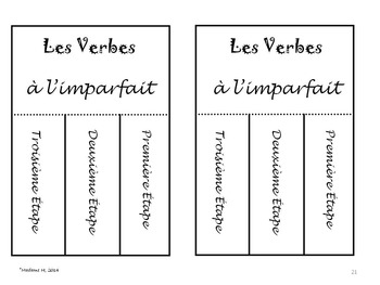 L'Imparfait:  Interactive Notebook French Verbs