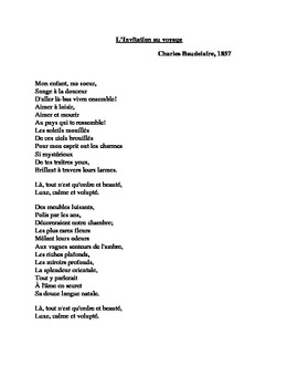 French poetry teaching resources teachers pay teachers linvitation au voyage poem by charles baudelaire stopboris Image collections