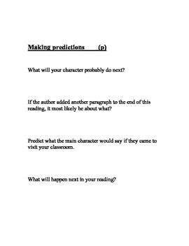 Literacy Skills Dicussion Questions for Accoutable Talk