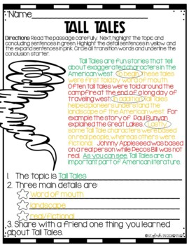 LIterature-Writing Connection Tall Tales-CKLA