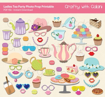 LIttle Girl Tea Party Photo Booth Prop, Little Girl Tea Party Themed Printable