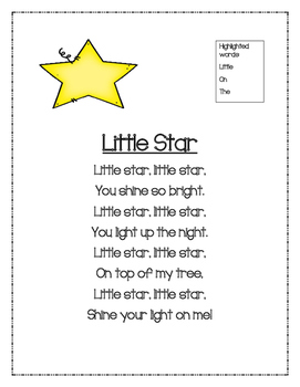 Little Star Sight Word Poetry Unit