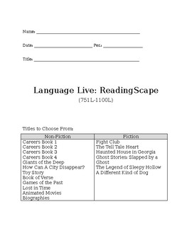 LL ReadingScape Activity Packet