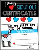 LLAMA 1st Day of School Certificates for Students - NO PROB-LLAMA