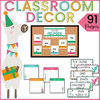 LLAMA Classroom Decor Theme EDITABLE with Cactus