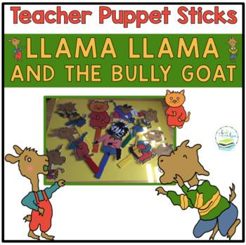 LLAMA LLAMA AND THE BULLY GOAT TEACHER SIZE PUPPET STICKS
