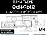 LLAMA THEME - Classroom Money - EDITABLE