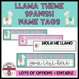 LLAMA THEME EDITABLE NAME TAGS- SPANISH