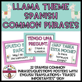 LLAMA THEMED SPANISH COMMON PHRASES/QUESTION POSTERS + PLU