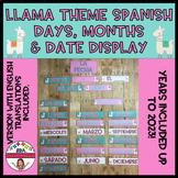 LLAMA THEMED SPANISH DAYS, MONTHS & DATE DISPLAY