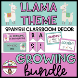 LLAMA THEMED SPANISH GROWING BUNDLE CLASSROOM DECOR