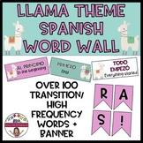 LLAMA THEMED SPANISH WORD WALL (English translations)