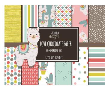 LLAMA paper set, commercial use, paper pack, digital background, alpaca, lama