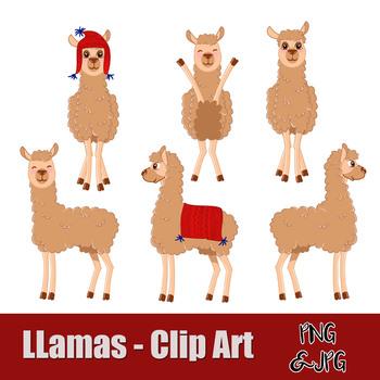 LLAMAS - CLIP ART- PNG and JPG files -Instant Download-