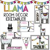 LLAMAS!! Classroom Decor- Labels, signs, etc. *EDITABLE* -