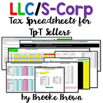 LLC and S-Corp Tax Spreadsheets for TpT Sellers