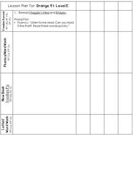 LLI Anchor Charts, Skills Assessments, Lesson Plan Templates More Orange Level E