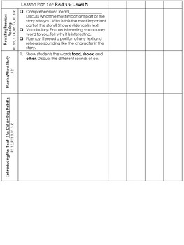 LLI Anchor Charts, Skills Assessments, Lesson Plan Templates More Red Level M