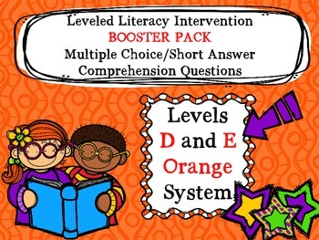 LLI BOOSTER PACK Multiple Choice Comprehension Assessment Level D and E Orange