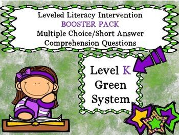 LLI BOOSTER PACK Multiple Choice Comprehension Assessment Level K Green System