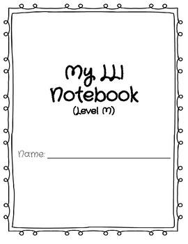 LLI Blue Kit Level M Notebook- Lessons 101-110