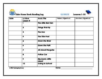 LLI Blue Take Home Reading Logs (Lessons 1-60 Volume 1)