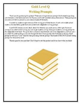 LLI Gold Level Q Writing Prompts