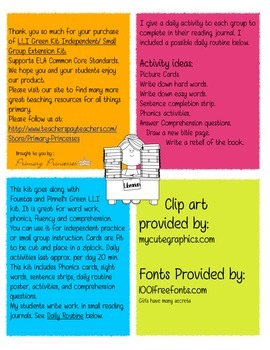 LLI Green Kit Level A-J Remediation/ Small Group Kit