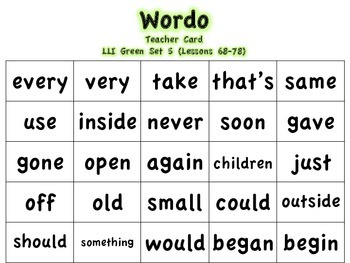 LLI Green Sight Word WORDO (Bingo Game)
