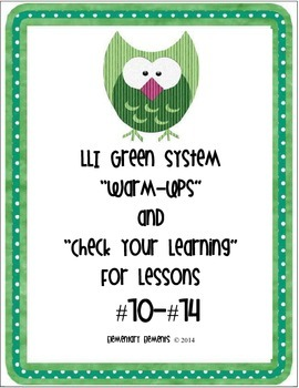"""LLI Green System Lessons #70-74 """"Warm-Up"""" and """"Check Your Learning"""""""