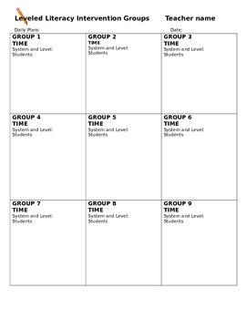 LLI Groups Daily Plan
