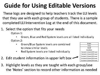 LLI Intervention Log Template