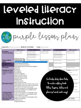 LLI Lesson Plan Template Purple Kit