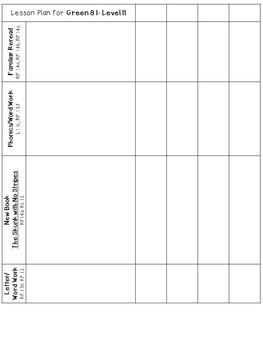 LLI Anchor Charts, Skills Assessments, Lesson Plan Templates More Green Level H