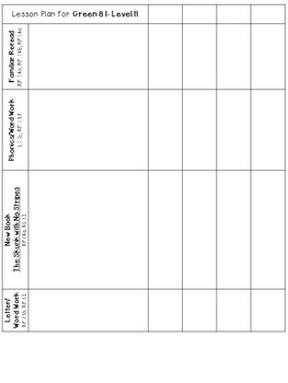 LLI Anchor Charts Skill Assessment Lesson Plan Template More Green H 1st Edition