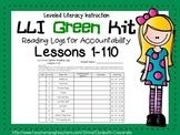 LLI Leveled Literacy Intervention Green Kit Reading Logs Lessons 1-110