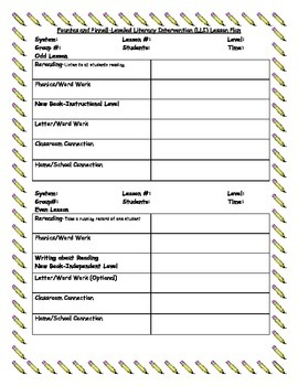 LLI (Leveled Literacy Intervention) Lesson Plan Template