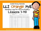 LLI Leveled Literacy Intervention Orange Kit Reading Logs Lessons 1-110