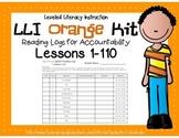LLI Leveled Literacy Intervention Orange Kit Reading Logs